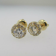 14k Yellow Gold .42ct Round Brilliant Diamond Halo Screw Back Earrings