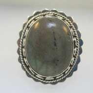 Sterling Silver Large Labradorite Oval Shape Ring Size 8