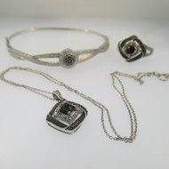Sterling Silver Black and White CZ Necklace, Ring, Bracelet Set with Black Diamond Accents