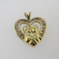 10k Yellow Gold Approx .20ct TW Diamond Heart Pendant with 2 Kissing People