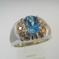 14k White Gold Blue Topaz Ring with Champagne Diamond Accents Size 8
