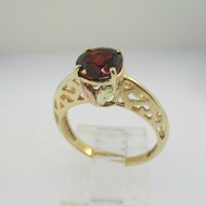 Coleman Company 10k Black Hills Gold Garnet Ring with Filigree Accents Size 7