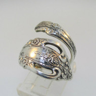 Sterling Silver Expandable Oneida Spoon Wrap Ring Size 4