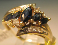 10k Yellow Gold Marquise Sapphires with Diamond Accent Ring Size  8 3/4*
