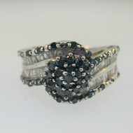 Sterling Silver White and Blue Diamond Cluster Ring Size 6