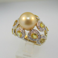 14k Yellow Gold 9.36mm South Sea Pearl Ring with Yellow Sapphire and Diamond Accents Size 7 1/2