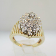 14k Yellow Gold Approx 1.0ct Round Brilliant Cut Diamond Fashion Ring Size 5 1/4