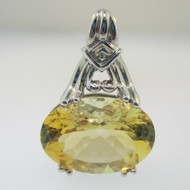 Sterling Silver Citrine Oval Cut Pendant