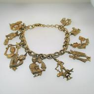 Vintage Gold Tone Signed Coro Ten Commandments Charm Bracelet