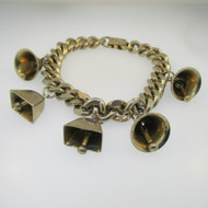 Silver Tone Bell Fold Over Clasp Bracelet