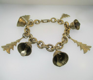Gold Tone Christmas Tree and Bell Charm Bracelet