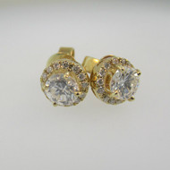 14k Yellow Gold .66ct TW Round Brilliant Cut Diamond Halo Earrings