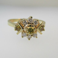 14k Yellow Gold Approx 1/3ct TW Yellow and White Diamond Ring Size 7