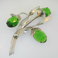 Sterling Silver Green Stone Flower Pin Brooch