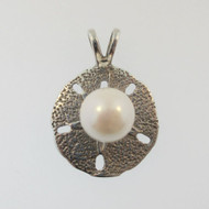 Sterling Silver Sand Dollar with Pearl Pendant