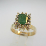 14k Yellow Gold Emerald and Single Cut Diamond Accents Ring Size 6 1/4