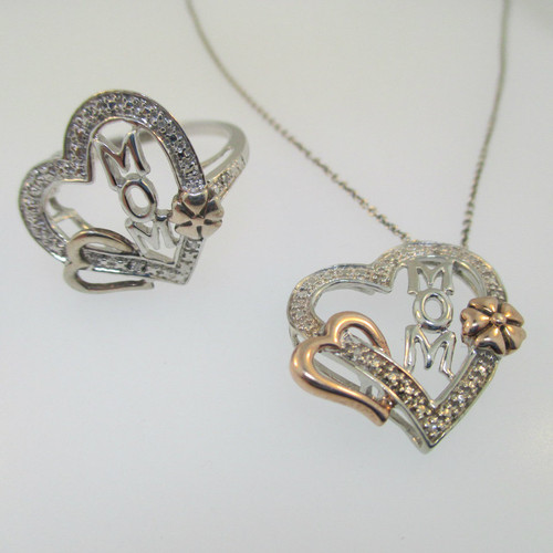 Sterling Silver Heart Mom Diamond Accent Ring & Necklace Set