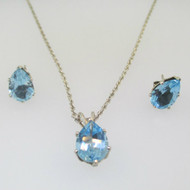 Sterling Silver Blue Topaz Pear Cut Necklace and Earring Set
