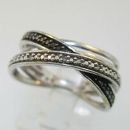 Sterling Silver Black & White Diamond Twist Ring Size 7