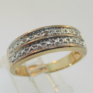 Two Tone Sterling Silver Diamond Ring Size 9