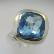 Sterling Silver Blue Topaz Checkerboard Cut Ring Size 8.75