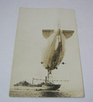 Blimp Real Photo Vintage Postcard with Ship