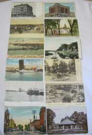 Antique Postcard Lot Green Bay Wi Bridges Building Street View