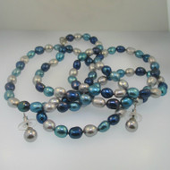 Blue Tri Color Freshwater Pearl Necklace & Earring Set