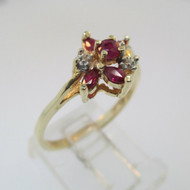 10k Yellow Gold Ruby with Diamond Accent Ring Size 7 3/4