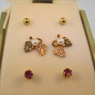 12k CCO Coleman 2 Leaf Jacket Earrings with 3 Pairs Stud Earrings