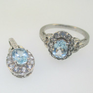Sterling Silver Aquamarine CZ Pendant & Ring Size 7 Set