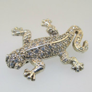 Sterling Silver CZ Lizard Pin Brooch