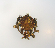 Antique Victorian Lady Edwardian Gold Filled Pin Brooch W/ Seed Pearl Accents & Hook