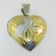 Sterling Silver Heart Two Tone Sunflower Locket Pendant