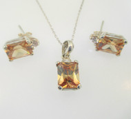 Sterling Silver Orange Stone & CZ Necklace & Earring Set