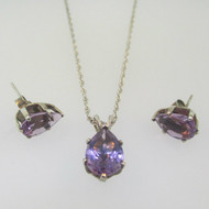 Sterling Silver Amethyst Pear Cut Necklace & Earring Set