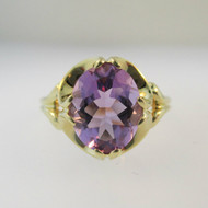 14k Yellow Gold Oval Amethyst Fashion Ring Size 7