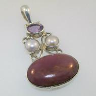 Sterling Silver Amethyst Pearl Purple Agate Pendant