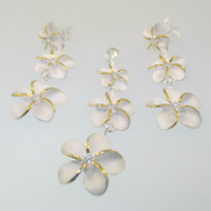 Sterling Silver Three White Hibiscus with Gold Tone Flower Pendant Earring Set