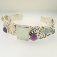 Sterling Silver Samuel Behnam Signed Cuff Bracelet with Multiple Stones