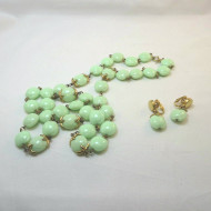 Trifari Vintage Necklace & Clip-On Earrings Costume Set Mint Green & Gold Tone