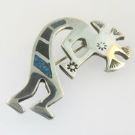 Sterling Silver Kokopelli Turquoise Inlay Pin