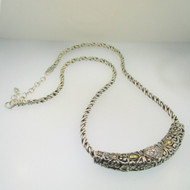 John Hardy Sterling Silver 14k Gold CZ Slide Necklace