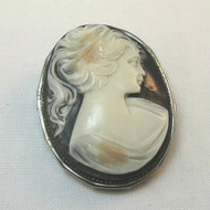 Vintage Costume Black Stone Oval Cameo Brooch Pin Unmarked