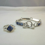 Sterling Silver & Art Glass Blue Floral Design Ring & Bracelet Set Unmarked