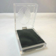 Clear Hard Plastic Rectangular Jewelry Box with Green Velvet Fitted Bed