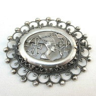Old Silver Tone Vintage Oval Egyptian Cutout Brooch Pin with Sliding Clasp