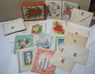 1940's Vtg. 24 French Fold Christmas Cards w/ Envelopes and Box 1945