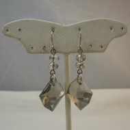 Lovely Pair of Unmarked Plastic Jewel Bead Pierced Smoky Gray Iridescent Dangle Earrings