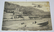 Antique  Postcard Monte Carlo w/ Wood Speedboat & Airplane